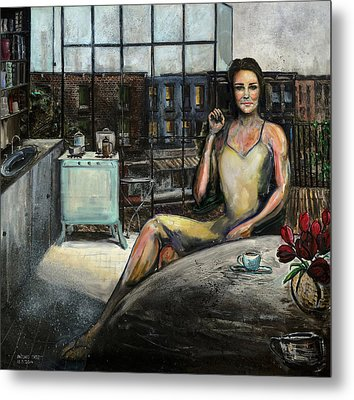Coffee With Kate Metal Print by Antonio Ortiz