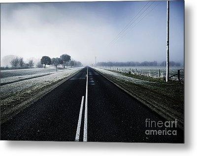 Cold Blue Winter Road Metal Print by Jorgo Photography - Wall Art Gallery