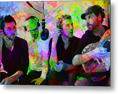 Coldplay Band Portrait Paint Splatters Pop Art Metal Print by Design Turnpike