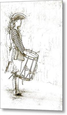 Colonial Drummer Portrait Sketch Metal Print by Randy Steele