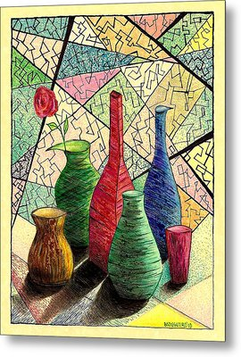 Color Drawing Of Vases With Flower Metal Print by Mario Perez