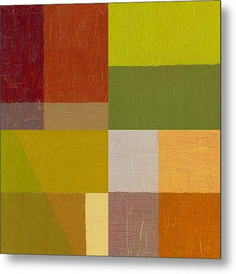 Color Study With Orange And Green Metal Print by Michelle Calkins