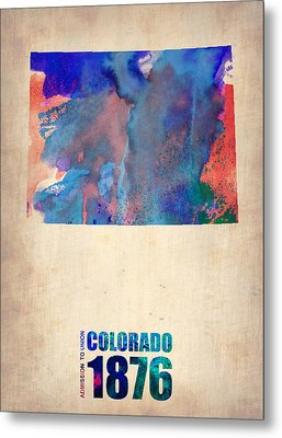 Colorado Watercolor Map Metal Print by Naxart Studio
