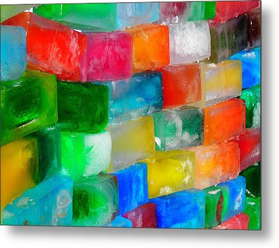 Colored Ice Bricks Metal Print by Juergen Weiss