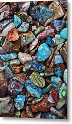 Colored Polished Stones Metal Print by Garry Gay