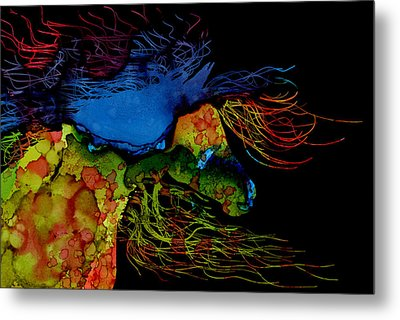 Colorful Abstract Wild Horse  Metal Print by Michelle Wrighton