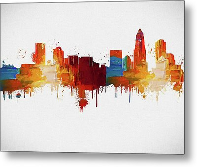 Colorful Charlotte Skyline Silhouette Metal Print by Dan Sproul
