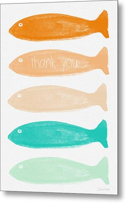 Colorful Fish Thank You Card Metal Print by Linda Woods