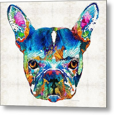 Colorful French Bulldog Dog Art By Sharon Cummings Metal Print by Sharon Cummings