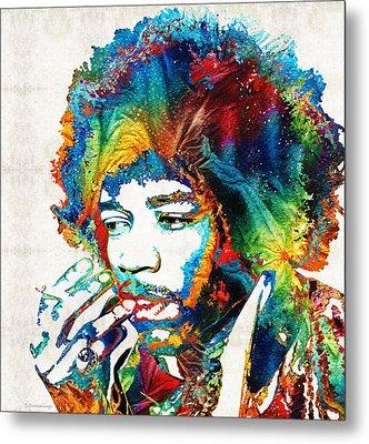 Colorful Haze - Jimi Hendrix Tribute Metal Print by Sharon Cummings