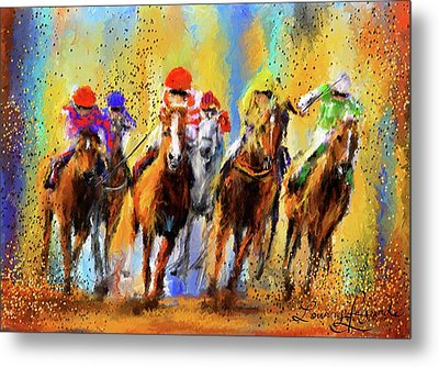 Colorful Horse Racing Impressionist Paintings Metal Print by Lourry Legarde