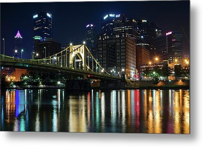 Colorful Lights On The Allegheny Metal Print by Frozen in Time Fine Art Photography
