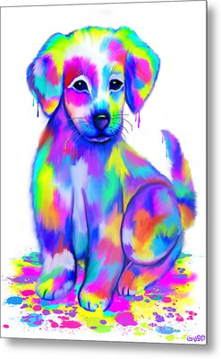 Colorful Painted Puppy Metal Print by Nick Gustafson
