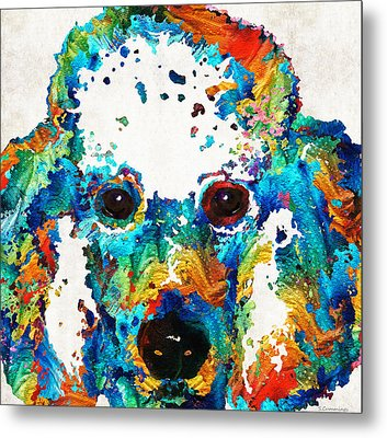 Colorful Poodle Dog Art By Sharon Cummings Metal Print by Sharon Cummings