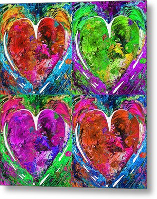 Colorful Pop Hearts Love Art By Sharon Cummings Metal Print by Sharon Cummings