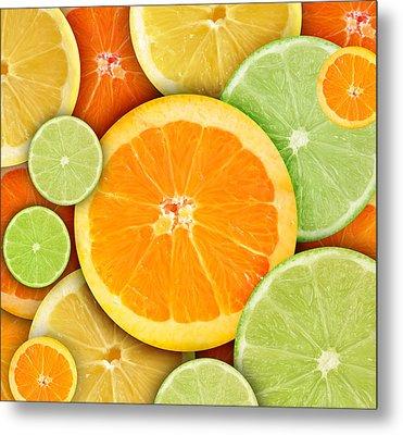 Colorful Round Citrius Fruit Background Metal Print by Angela Waye