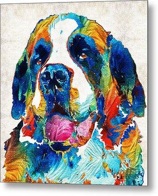 Colorful Saint Bernard Dog By Sharon Cummings Metal Print by Sharon Cummings