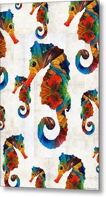 Colorful Seahorse Collage Art By Sharon Cummings Metal Print by Sharon Cummings