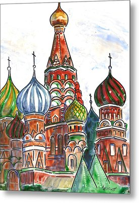Colorful Shapes In A Red Square Metal Print by Marsha Elliott