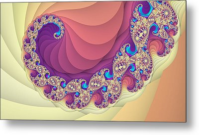 Colorful Spiral Fractal Art Metal Print by Marina Likholat