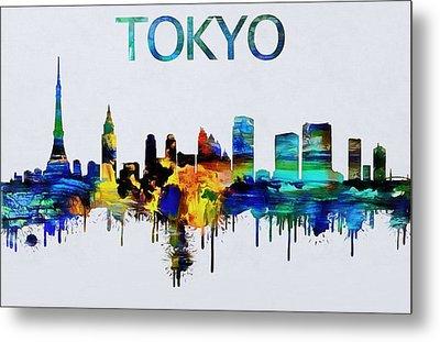 Colorful Tokyo Skyline Silhouette Metal Print by Dan Sproul