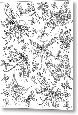 Coloring Page For Adults Butterflies And Dragonflies By Madart Metal Print by Megan Duncanson