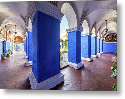 Columns In Santa Catalina Monastery Metal Print by Jess Kraft
