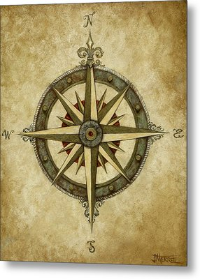 Compass Rose Metal Print by Judy Merrell