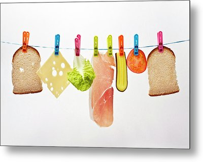Components Of Sandwich Pegged To Washing Line Metal Print by Image by Catherine MacBride