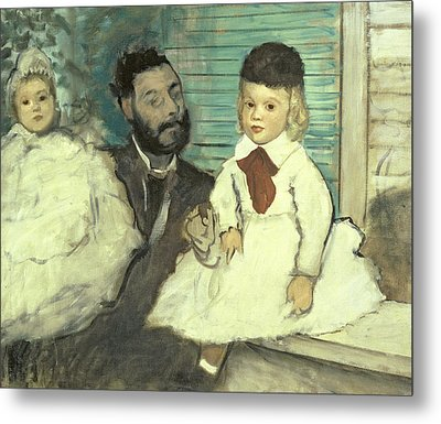 Comte Le Pic And His Sons Metal Print by Edgar Degas