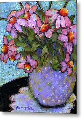 Coneflowers In Lavender Vase Metal Print by Blenda Studio