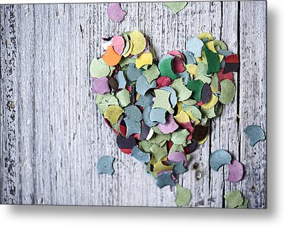 Confetti Heart Metal Print by Nailia Schwarz