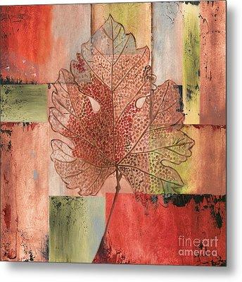 Contemporary Grape Leaf Metal Print by Debbie DeWitt
