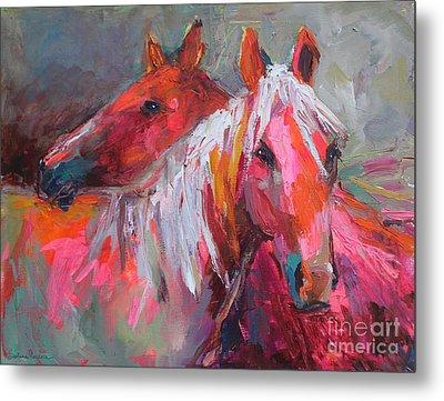 Contemporary Horses Painting Metal Print by Svetlana Novikova