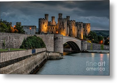Conwy Castle By Lamplight Metal Print by Adrian Evans