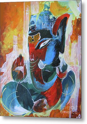 Cool And Graphical Lord Ganesha Metal Print by Chintaman Rudra
