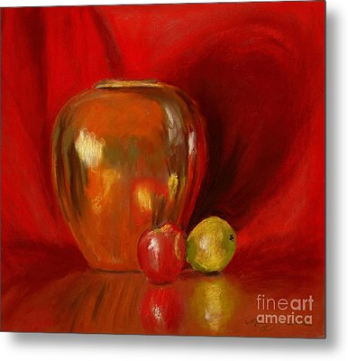 Copper Pot And Fruit Metal Print by Mary Benke