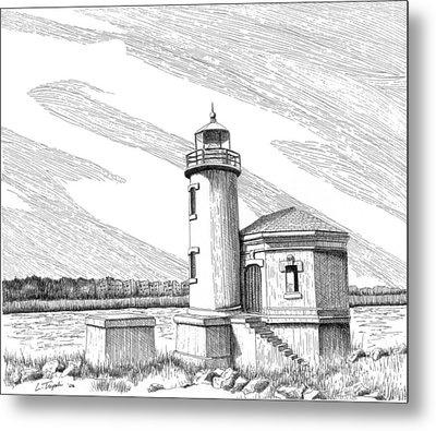 Coquille River Lighthouse Metal Print by Lawrence Tripoli