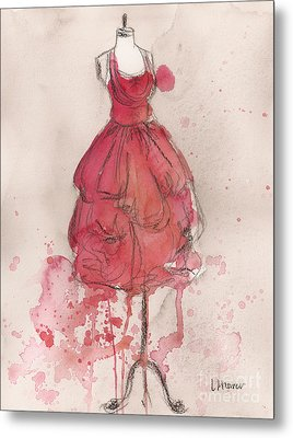 Coral Pink Party Dress Metal Print by Lauren Maurer