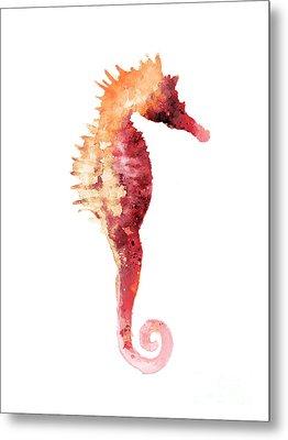 Coral Seahorse Watercolor Painting Metal Print by Joanna Szmerdt