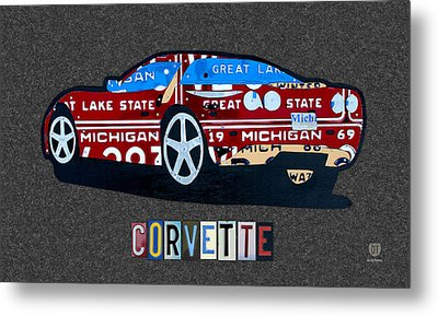 Corvette Recycled Artwork Made With Vintage Recycled Michigan License Plates Metal Print by Design Turnpike
