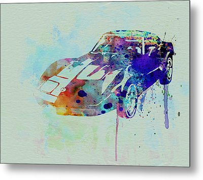 Corvette Watercolor Metal Print by Naxart Studio