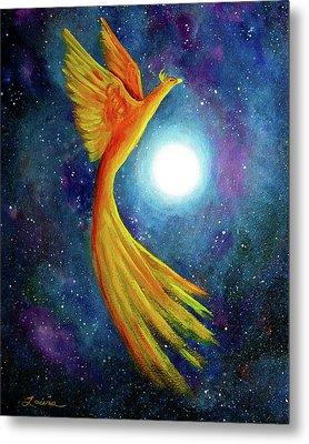 Cosmic Phoenix Rising Metal Print by Laura Iverson