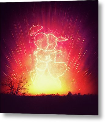 Cosmo And Celeste Colorful Cosmological Night Sky Couple In Love  Metal Print by Philipp Rietz