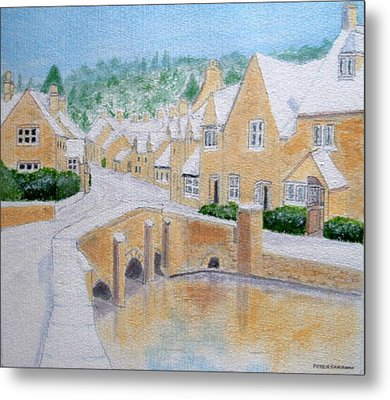 Cotswold Winter - Castle Combe Metal Print by Peter Farrow