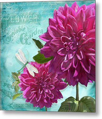 Cottage Garden - Dinner Plate Dahlias W Dragonfly Metal Print by Audrey Jeanne Roberts