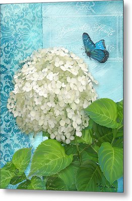 Cottage Garden White Hydrangea With Blue Butterfly Metal Print by Audrey Jeanne Roberts