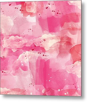 Cotton Candy Clouds- Abstract Watercolor Metal Print by Linda Woods