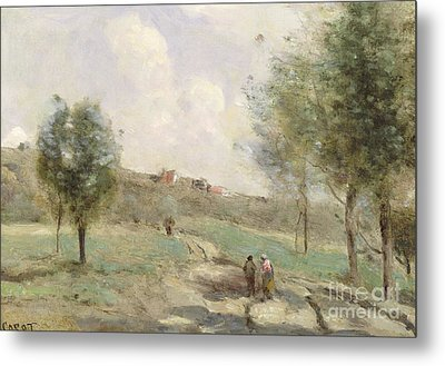 Coubron Ascending Path Metal Print by Jean Baptiste Camille Corot