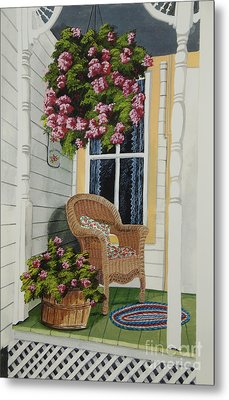 Country Porch Metal Print by Charlotte Blanchard